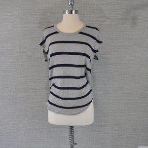 Joie Blue/Grey Striped Short Sleeve Sweater - S